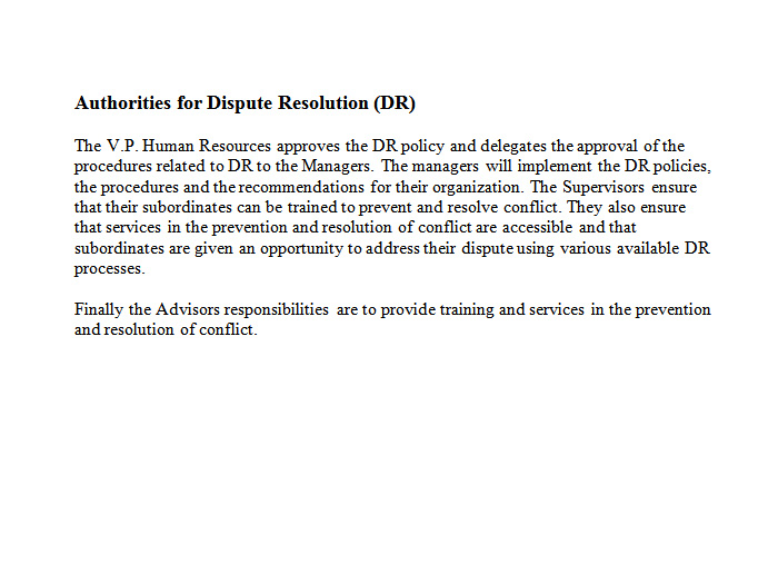 Authorities for Dispute Resolution - Before